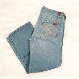 7 For All Mankind light wash crop flynt pants 29